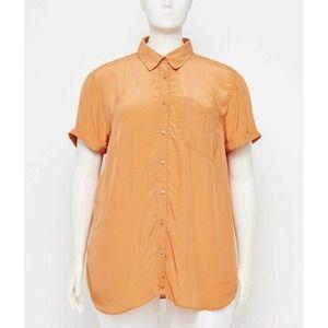 Loft Short Sleeve Tunic Blouse Orange Sz 16